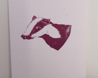 Original hand printed badger art