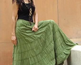 Long Skirt ...Boho Skirt ....Color Green ... Soft and Floaty
