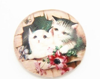 12 pcs of hand made cat glass cabochon 25mm-0999-CAT 1
