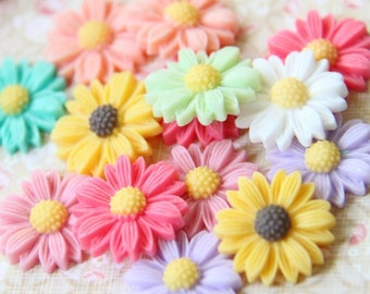16 pcs of 8 colors of resin sun flower cabochon 22mm-0484-high quality-mix color
