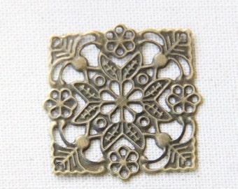24 pcs of iron filigree 36mm-1626-antique bronze