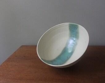 Rustic White with Aqua Stripe Serving Bowl
