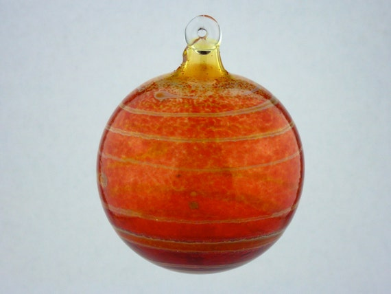 Handblown Striped Red Glass Ornament
