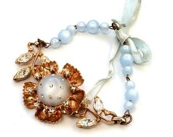 Vintage Gold Flower Rhinestone Moonstone Blue Bracelet Gift For Her Lillian Fine Jewelry