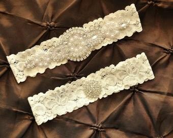 Rhinestone Wedding Garter, Crystal Bridal Garter Set - Ivory Lace Garter, Keepsake Garter, Toss Garter, Crystal Wedding Garter