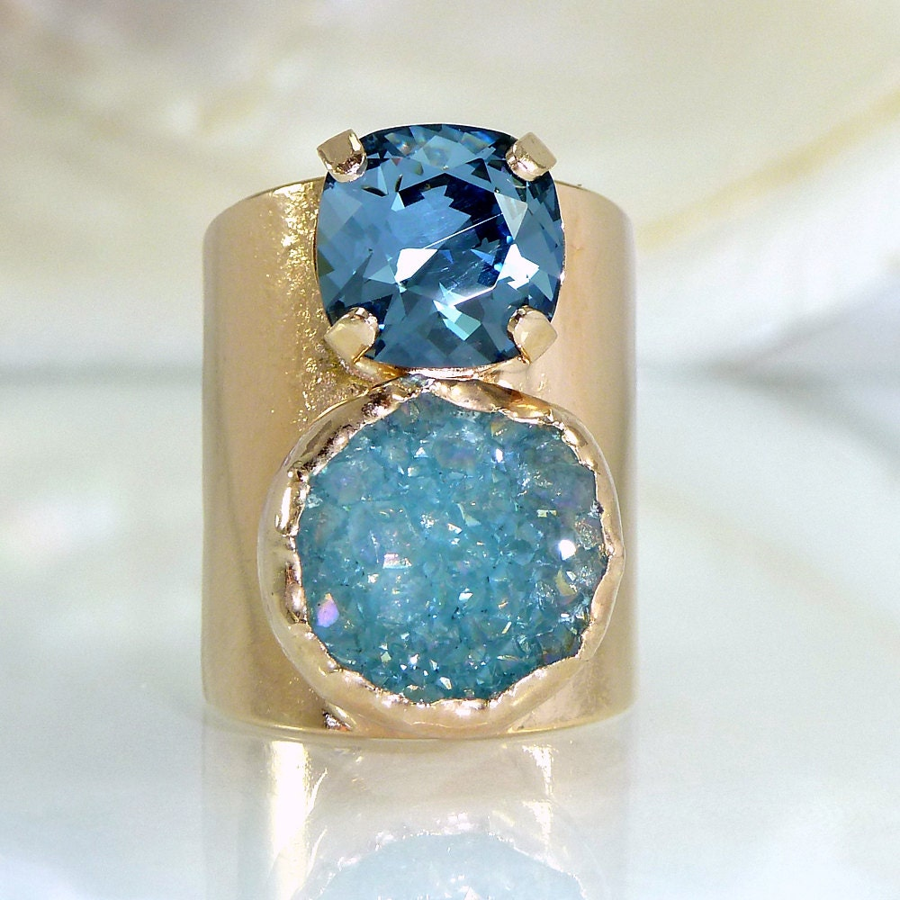 blue druzy ring druzy gemstone ring ring