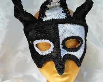 Brocade Jester Masquerade Mask, Black and White Brocade Over Leather Jester Masquerade Mask Ren Faire Mardi Grad Masks