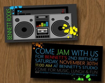 Boombox - Neon - Music Birthday Party Invitation - 80s invite - DIGITAL FILE ONLY