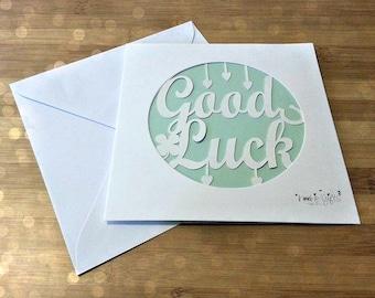 Good luck paper cut card