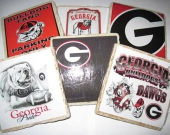 Georgia Bulldog Coasters - ALL 6