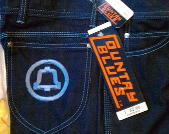 Rare Vintage Bell  Telephone Company Issue Denim Jeans NOS Embroidered Pocket Advertising AT&T