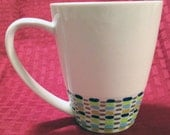 "Hand Painted Mug with Colorful ""Basket Weave"" Dash Pattern"