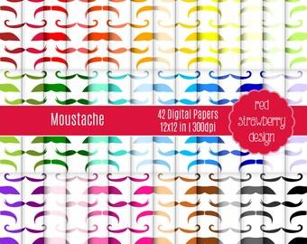 75% OFF Sale - 42 Digital Papers - Moustache - Instant Download - JPG 12x12 (DP219)