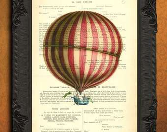 hot air balloon nursery, dictionary art print for children, red white stripe balloon artwork