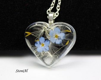 Real Dandelion /Forgetmenot Necklace