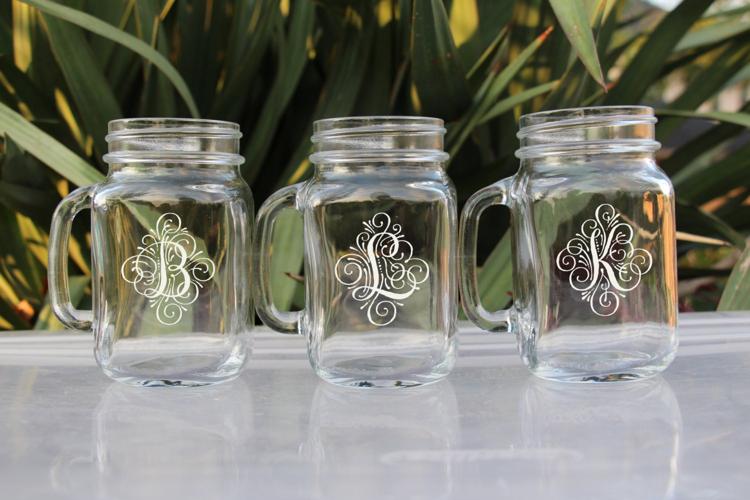 Engraved Wedding Party Gifts: 3 Personalized Beer Mug Engraved Mason Jar Glasses With