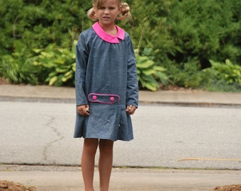 Girls dress with asymmetrical collar - 2 to 8 y - Chambray dress with neon pink accents - Spring long sleeve dress with collar