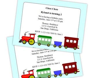 Little Boy Birthday or Baby Shower Invitation - Choo Choo Train - DIY Printable Template - Instant Download - Microsoft Word Format