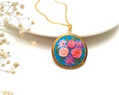 Abigail, Floral, colorful,  hand embroidered necklace