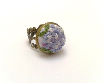 Hidrangea hand embroidered adjustable ring in romantic style. Gift for her