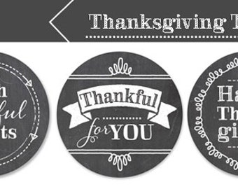 Thanksgiving Tags, Printable, Chalkboard, Thankful Tags, 3 Designs, Instant Download