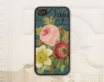 Vintage Floral phone case iPhone 4 4S 5 5s 5C 6 6+ Plus, Samsung Galaxy s3 s4 s5 s6 Jade Floral Bouquet, French script, Redoute flower V1711