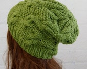 Chunky knit cable beanie in Forest Green Beanie/Slouchy Beanie/Knitted hat/Beanie hat