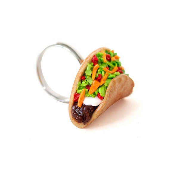 taco ring food jewelry mexican food miniature by shopbitesize