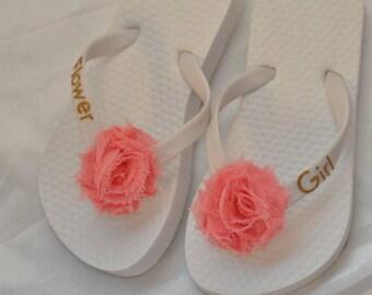 SALE!! Custom FLOWER GIRL Flip Flops, Wedding Flip Flops, Personalized Flower Flip Flops, Flower Girl Gifts, Beach Weddings