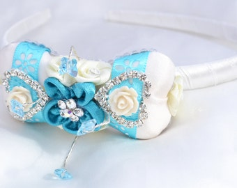 Sparkly heart and floral bridesmaid cream and turquoise head band with crystal butterfly,tiara,facinator