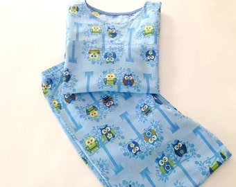 Lounge Set, Bedtime, Unisex Shirt and Pants- Childs lounge set, Owl Shirt Pants