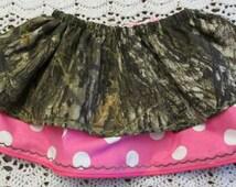 Mossy Oak and pink polka dot double layer twirly skirt.
