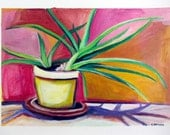 Happiest Aloe In The House Acrylic Plant Painting