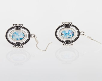 Lace Dangle-925 Sterling Silver  Ancient Roman Glass Earrings Unique Openwork