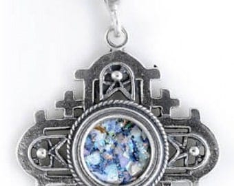Unusual 925 Sterling Silver Pendant, Ancient Roman Glass Pendant, Jerusalem Cross, Roman Glass Jewelry, OOAK