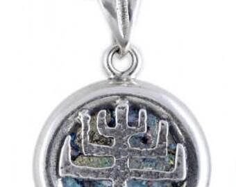 Unusual 925 Sterling Silver Pendant, Ancient Roman Glass Pendant, Menorah, Judaica, Unique Jewelry
