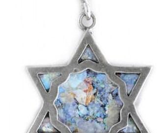 Stylish 925 Sterling Silver Pendant, Ancient Roman Glass Pendant, David Star, Judaica, Roman Glass Jewelry