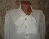 WHITE elegant VINTAGE BLOUSE with bow, Romantic Victorian white blouse gift idea