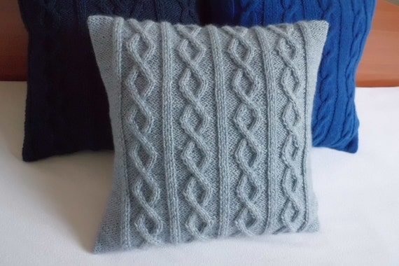 Blue Slate Hand Knit Pillow Case Throw Pillow Knitted Pillow