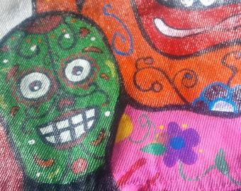 Sugar Skull Denim Jacket - Vintage Jean Jacket - Hand-Painted Jacket - Sugar Skull - Denim Jacket - Hand-painted Jeans - Painted Clothing