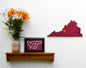 "Virginia Tech Hokies ""State Heart"" wall art, handcrafted wood with official team colors"