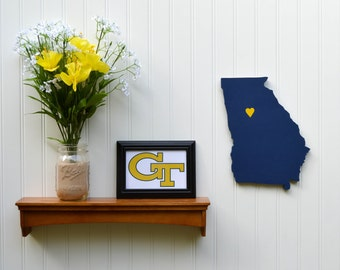 "Georgia Tech Yellow Jackets  ""State Heart"" wall art, handcrafted wood with official team colors"