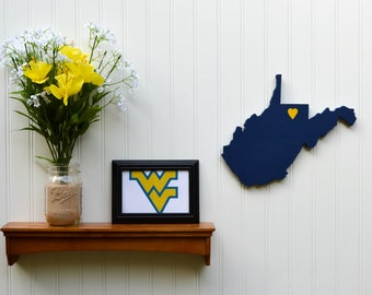 "West Virginia Mountaineers ""State Heart"" wall art, handcrafted wood with official team colors"