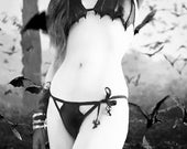 Vampire Bat Bikini Batwing Goth Panties Horror Coffin Bottom Gothic Wing Swimsuit Faux Leather Panty Black Witch Clothing Nosferatu Beach