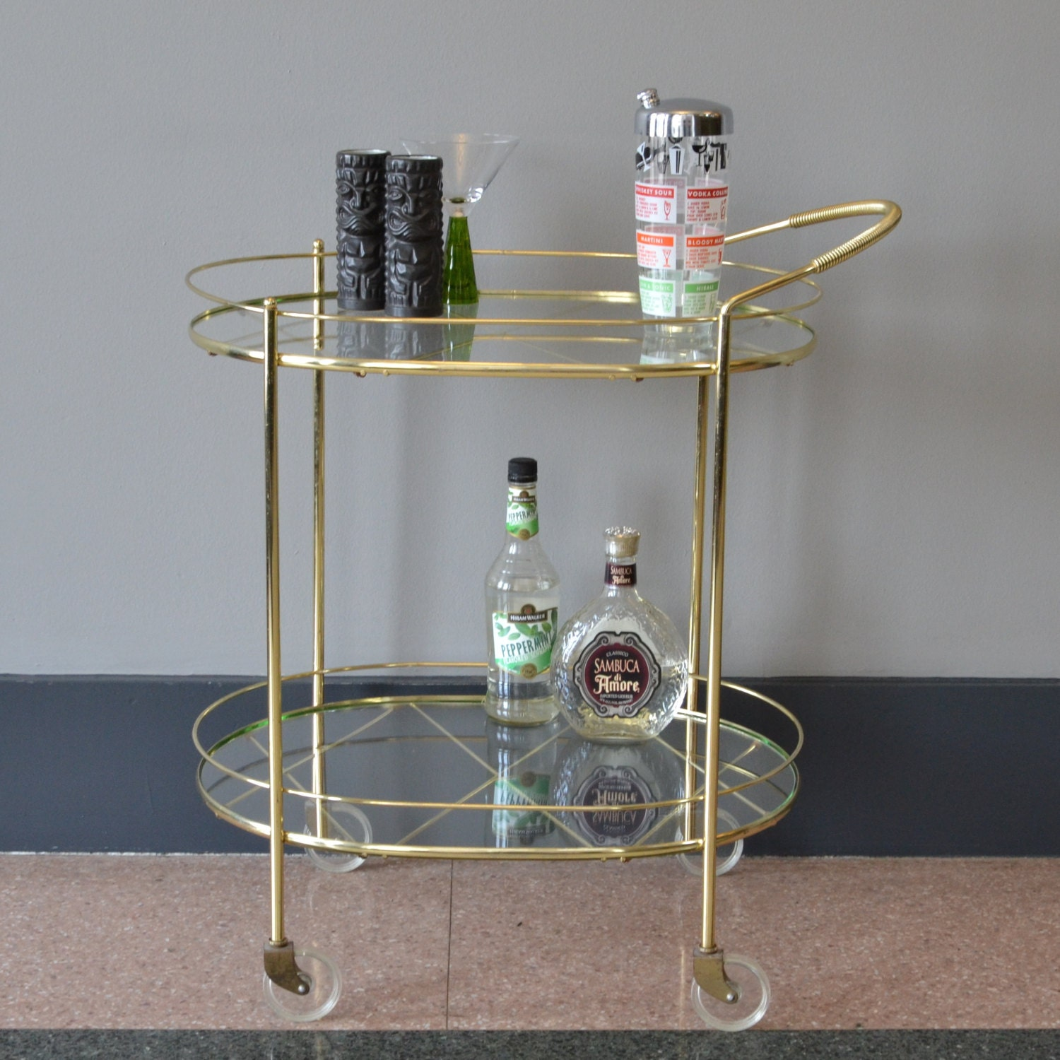 Vintage Brass And Glass Rolling Bar Cart