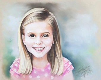 Small size Pastel Portrait Painting of a girl