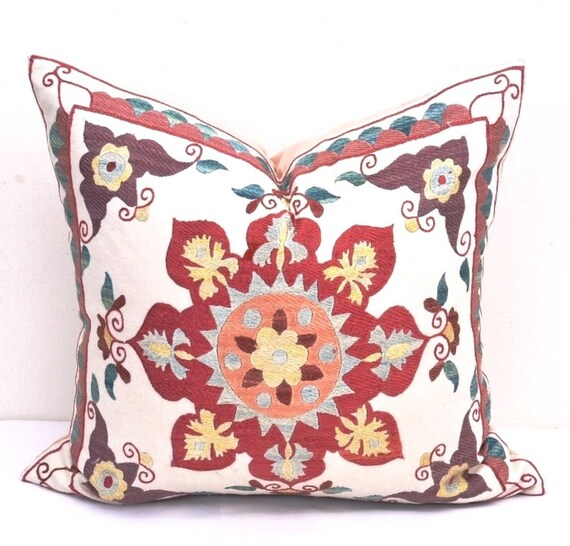 Round designed Suzani pillow cover Decorative by IkatSuzanicom