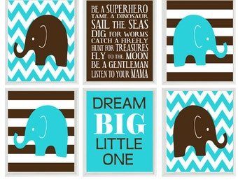 Elephant Nursery Art - Baby Boy Nursery Prints, Brown Aqua Turquoise Chevron Stripes Dream Big - Nursery Decor Playroom Rules Quote -