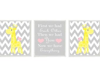 Giraffe Nursery Art Print Set - Chevron Pink Yellow Gray Decor - First We Had Each Other Quote - Modern Baby Girl Room - Wall Art Home Decor