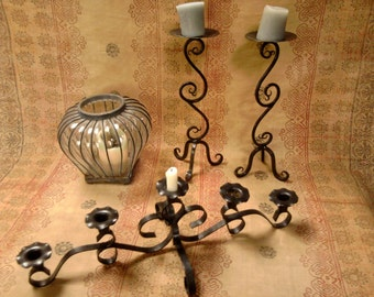 Three Vintage Iron Candle Holders -- One Pair -- One blown glass -- One candelabra style